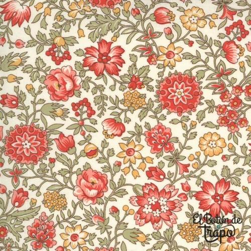 Tela color crema con estampado de flores de French General