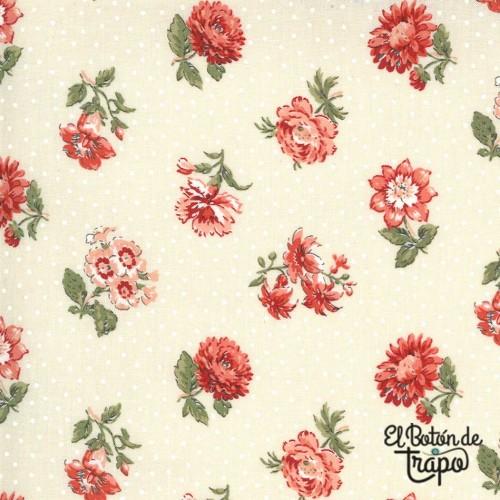 Tela color crema con estampado de flores rojas de French General