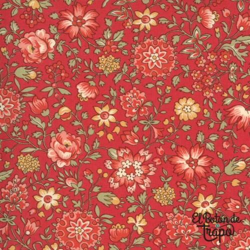 Tela color rojo con estampado de flores de French General