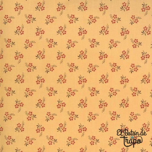 Tela Jardin de Fleurs de French General para Moda Fabrics de color amarillo ocre con florecitas rojas