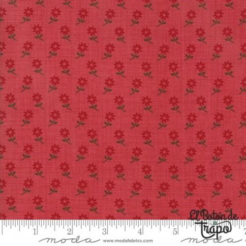 Tela Petites Maison Florecitas Rojo