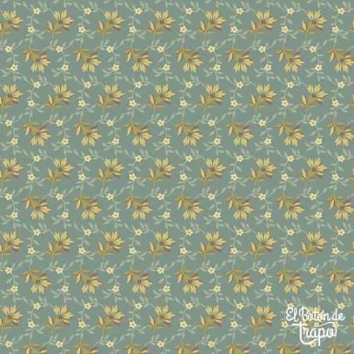 Tela Bed of Roses Lazy Day Teal